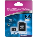 PLATINUM micro SDXC Card 64GB Class 10 + SD Adapter  177323
