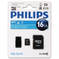 Philips Micro SD cards 16GB, Class 10 with Adaptor/Reader  FM16MR45B/97