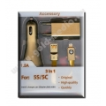 TRAVEL CHARGER, data wire Accessory 3 in 1 for 5s/5c charger 1.5A Gold