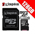 Kingston microSD-XC 128GB  Clase 10  UHS-I U1  + adapter (45/10 MBps)