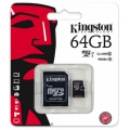Kingston 64GB Class 10 microSDXC  memóriakártya+adapter SDC10G2/64GB