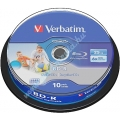 VERBATIM BD-R BLU-RAY 25GB 6X PRINTABLE NO ID CAKE*10  43804