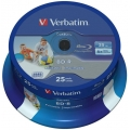 VERBATIM BD-R BLU-RAY 25GB 6X PRINTABLE NO ID CAKE*25  Datalife 43811