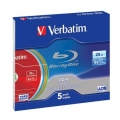 VERBATIM BD-R BLU-RAY 25GB 6X LTH COLOUR SLIM*5 43774